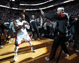 Miami, FL - June 21:  Miami Heat and Oklahoma City Thunder Game Five, Dwyane Wade and LeBron James Photo by Andrew Bernstein