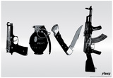 Love (Weapons) Black & White Steez Poster Plakater af  Steez