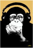 Steez Headphone Chimp - Gold Art Poster Print Plakater af  Steez