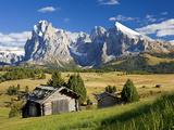 Italy, Trentino-Alto Adige, South Tyrol, Bolzano District, Alpe Di Siusi, Seiser Alm, Sassolungo (L Fotografie-Druck von Peter Adams