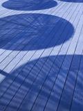 Israel, Tel Aviv, Old Port, Namal, Renovated Port Now Home to Shops and Cafes, Umbrella Shadows on  写真プリント : ウォルター・ビビコウ