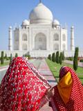 Taj Mahal, UNESCO World Heritage Site, Women in Colourful Saris, Agra, Uttar Pradesh State, India,  Photographic Print by Gavin Hellier