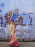 Woman Passing Mural, Bundi, Rajasthan, India Photographic Print by Ian Trower