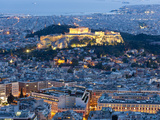 View of the Acropolis and the Parthenon Athens, Greece Fotografisk tryk af Peter Adams