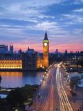 Big Ben, Houses of Parliament and Westminster Bridge, London, England, Uk Fotografisk tryk af Jon Arnold