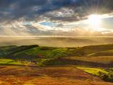 UK, England, Derbyshire, Peak District National Park, Hope Valley from Stanage Edge Lámina fotográfica por Alan Copson