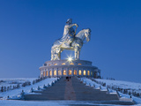 Mongolia, Tov Province, Tsonjin Boldog, a 40M Tall Statue of Genghis Khan on Horseback Stands on To Photographic Print by Nick Ledger