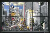 Uitzicht door raam op New York Poster