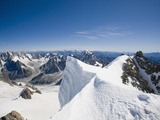 The Summit of the 4000 Meter Peak of Mont Blanc Du Tacul Above Chamonix France Photographic Print by Ashley Cooper