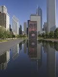 Crown Fountain, Millennium Park, Chicago, Illinois, Designed by Jaume Plensa Fotografisk tryk af Adam Jones