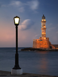 Lighthouse and Lighted Lamp Post at Dusk, Chania, Crete, Greece Fotografisk tryk af Adam Jones