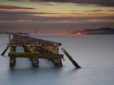 The Old and Weathered Berkeley Pier with Alcatraz Island and the Golden Gate Bridge Photographic Print by Patrick Smith