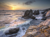 Sunset View of Waves Eroding the Rocky Coastline Near Carmel, Central California, USA Photographic Print by Patrick Smith