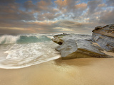 Large Waves Eroding the Sandy Beach and Sandstone Outcrop on the La Jolla, California, USA Shore Photographic Print by Patrick Smith