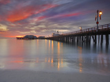 Sunset View of Stearns Wharf, a Central Attraction on the Beach in Santa Barbara, California, USA Photographic Print by Patrick Smith