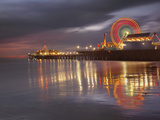 Santa Monica, California, USA Pier at Night, with Lights and Amusement Rides Photographic Print by Patrick Smith