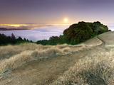 Full Moonrise at Sunset, Mt. Tamalpais, California, USA Photographic Print by Patrick Smith