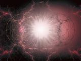 Artist's Interpretation of Matter - Antimatter Collision Lámina fotográfica por Carol & Mike Werner