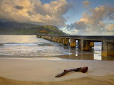 Morning Clouds over the Hanalei Pier, Kauai, Hawaii, USA Photographic Print by Patrick Smith