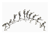 Sequence Illustrating a Human Skeleton Jumping Reproduction procédé giclée par Carol & Mike Werner