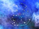 Copper Atom Model, Chemical Precipitation of Cu(Oh)2 Fotografisk tryk af Carol & Mike Werner