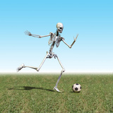 Skeleton Playing Soccer Reproduction photographique par Carol & Mike Werner