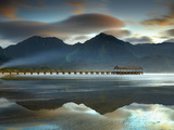 Pier and Sandy Beach at Hanalei on the North Shore of Kauai the Mountains in the Background Photographic Print by Patrick Smith