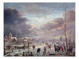 Landscape in Winter Giclee-trykk av Aert van der Neer