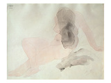 Seated Nude with Dishevelled Hair (W/C on Paper) Giclée-tryk af Auguste Rodin