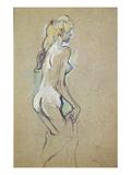 Nude Young Girl, 1893 (Oil on Card) Lámina giclée por Henri de Toulouse-Lautrec