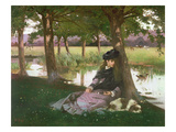 An Afternoon by a River with a King Charles Spaniel Giclee Print by Alexander M. Rossi