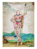 A Young Daughter of the Picts, C.1585 (W/C and Gouache with Gold on Vellum) Giclee Print by Jacques Le Moyne