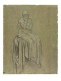 Study for Solitude, C.1890 (Chalk on Paper) Gicléetryck av Frederick Leighton