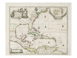 A New Map of the English Plantations in America, 1673 (Coloured Engraving) Impressão giclée por Robert Morden