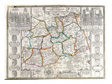 Map of Surrey, Described and Divided into Hundreds (Engraving) Giclee Print by  English
