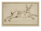 A Hare Running, with Ears Pricked (Pen and Ink on Paper) Giclée-tryk af James Seymour