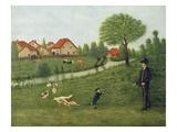 Child with Geese Giclée-Druck von Louis Vivin