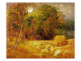The Harvest Moon, 1833 (Oil on Paper Laid on Panel) Giclee Print by Samuel Palmer