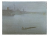 Thames - Nocturne in Blue and Silver, c.1872/8 Giclée-tryk af James Abbott McNeill Whistler