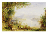 View on the Hudson River, C.1840-45 (Oil on Panel) Giclee Print by Thomas Creswick