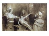 Hammering the Spleen (Pencil and Wash on Paper) Giclée-Druck von Gaston Vuillier