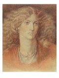 Head of a Woman, Called Ruth Herbert, 1876 (Red and Black Chalk on Paper) Giclee-trykk av Dante Gabriel Rossetti