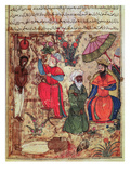 Fol.100 the Sultan Showing Justice, from 'The Book of Kalilah and Dimnah' Giclée-tryk af  Islamic