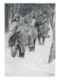 Travelling in Frontier Days, Illustration from 'The City of Cleveland' by Edmund Kirke Gicléedruk van Howard Pyle