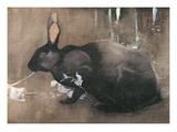 A Black Rabbit (Bodycolour on Linen) Giclée-tryk af Joseph Crawhall