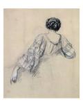 Back of a Young Woman (Study for 'La Malaria') (Chalk on Paper) ジクレープリント : アントワン・オーギュスト・アーネスト・イベール