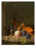 Still Life of Fruit on a Ledge with a Roemer and a Wine Glass ジクレープリント : ジェイコブ・ヴァン・ワルスカペル