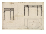 Design for a Writing Table (Pen and Ink with Grey Wash over Graphite on Wove Paper) Giclée-Druck von Thomas Chippendale