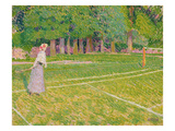 Tennis at Hertingfordbury, 1910 Giclée-tryk af Spencer Frederick Gore
