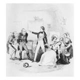 Nicholas Congratulates Arthur Gride on His Wedding Morning, Illustration from `Nicholas Nickleby' Reproduction procédé giclée par Hablot Knight Browne